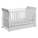 East Coast Nebraska Sleigh Cot Bed With Drawer-White