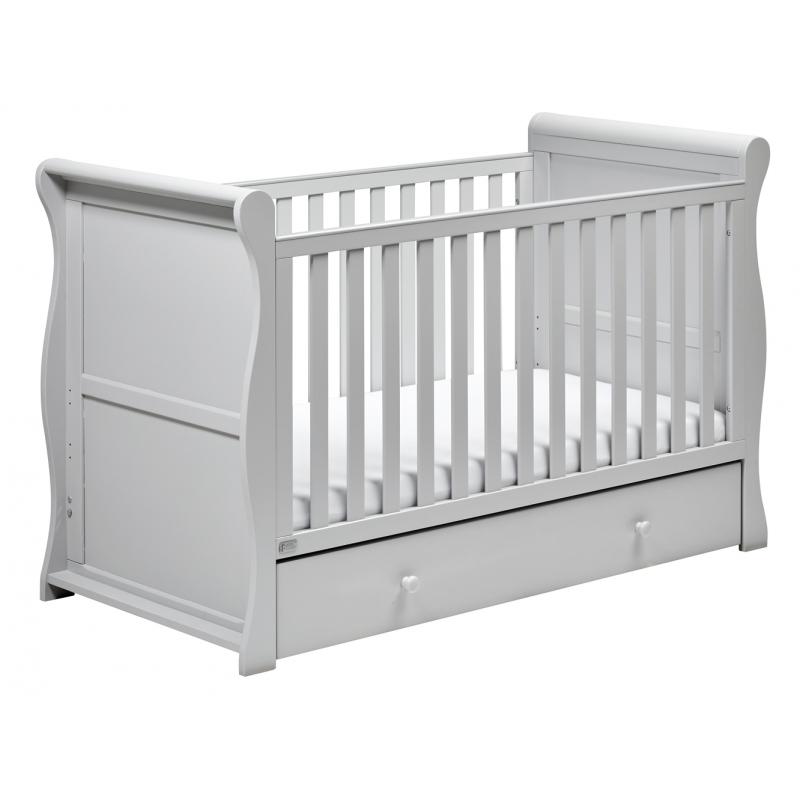 East Coast Nebraska Sleigh Cot Bed With Drawer-Grey
