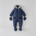 Boys Classic Quilt Pramsuit- Navy Newborn