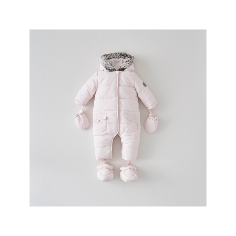 Silver Cross Girls Classic Quilt Pramsuit- Pink 9-12 Months