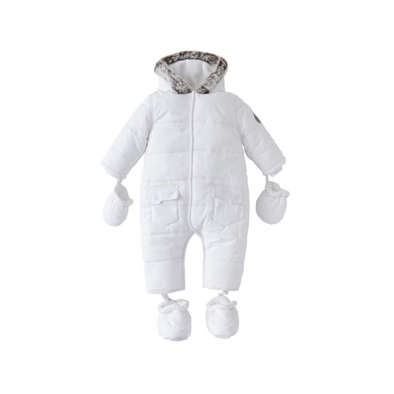Silver Cross Unisex Classic Quilt Snowsuit- White Newborn
