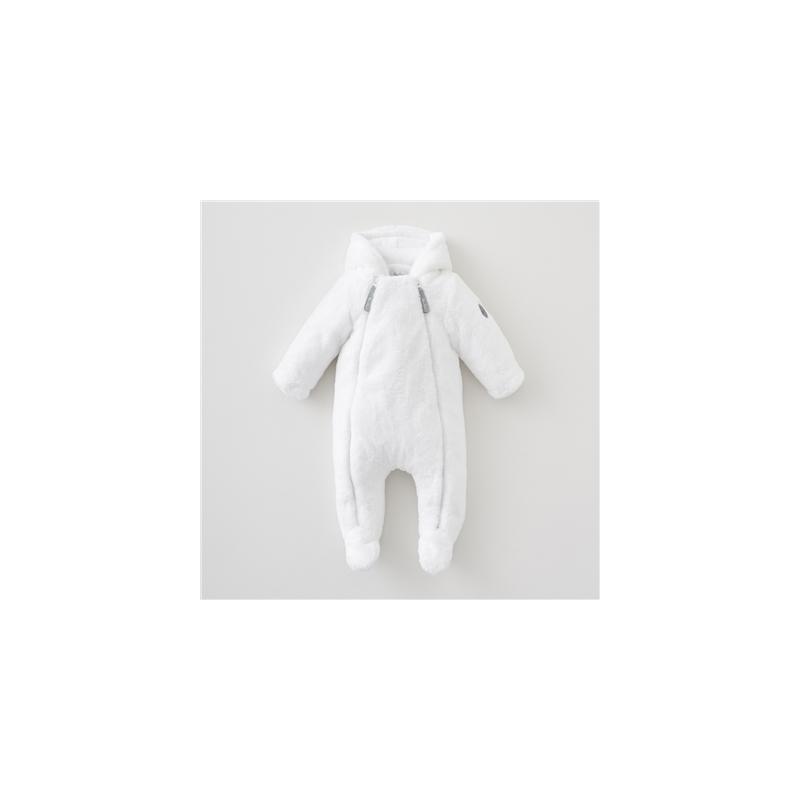 Silver Cross Unisex New Baby Fur Pramsuit- White Newborn
