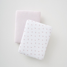 Silver Cross Girls 2pk Jersey Cot Bed Fitted Sheet