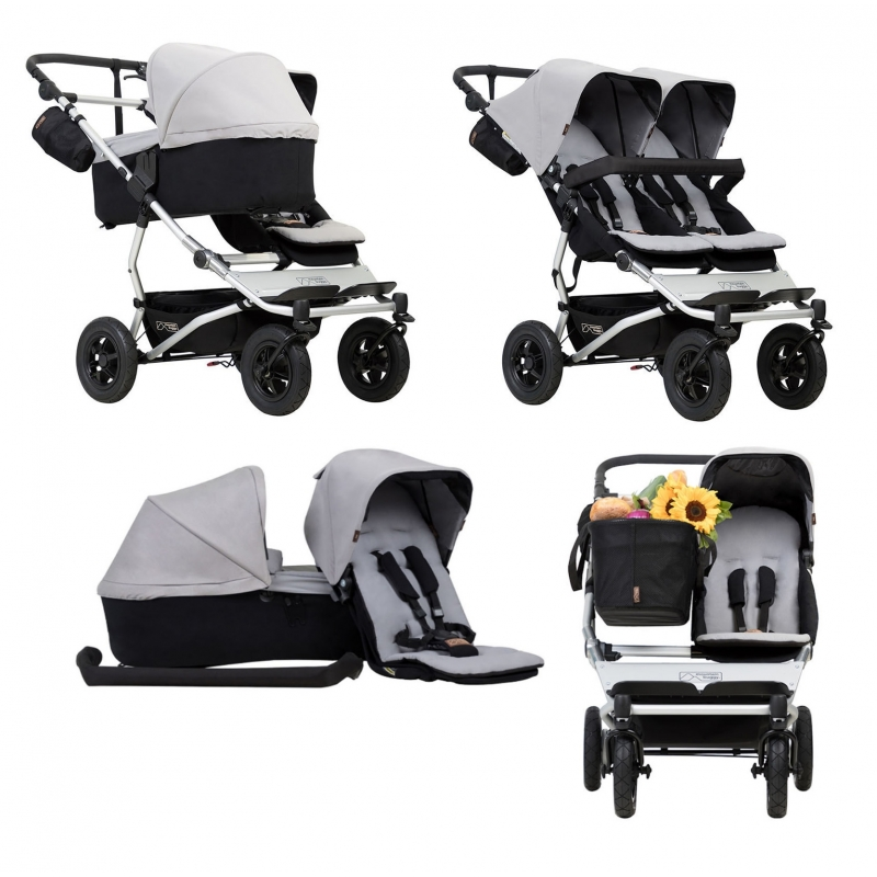 Mountain Buggy Duet V3 Single Stroller inc Free Family Pack-Silver (Converts to a TWIN!)