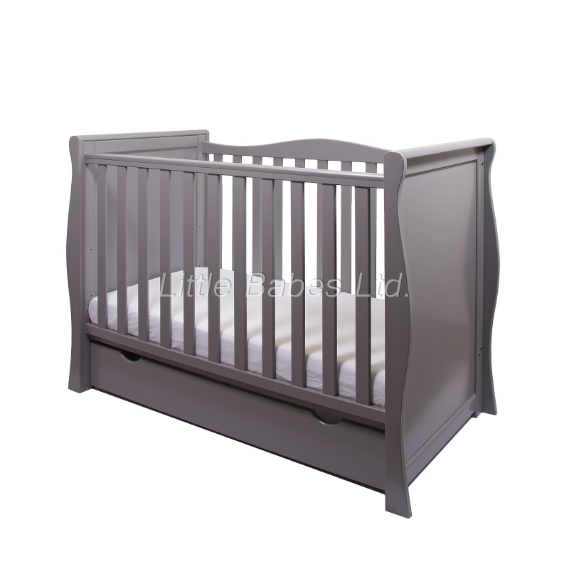 Little Babes Ltd Sleigh Mini Cot Bed-Grey