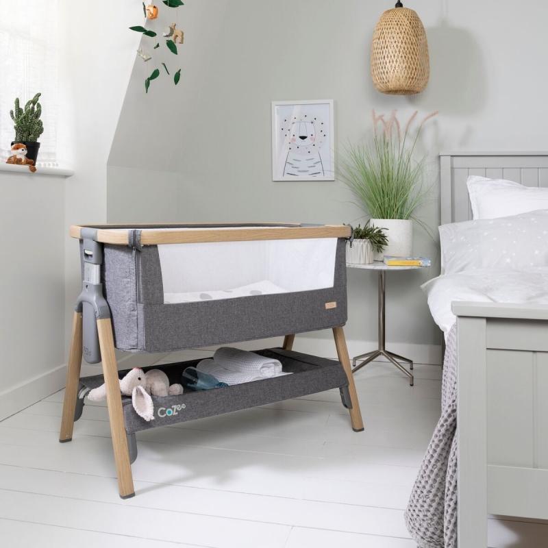 Tutti Bambini CoZee Bedside Crib-Charcoal