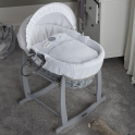 Clair De Lune Over The Moon Wicker Moses Basket-Grey