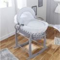 Clair De Lune Stars & Stripes Wicker Moses Basket-Grey