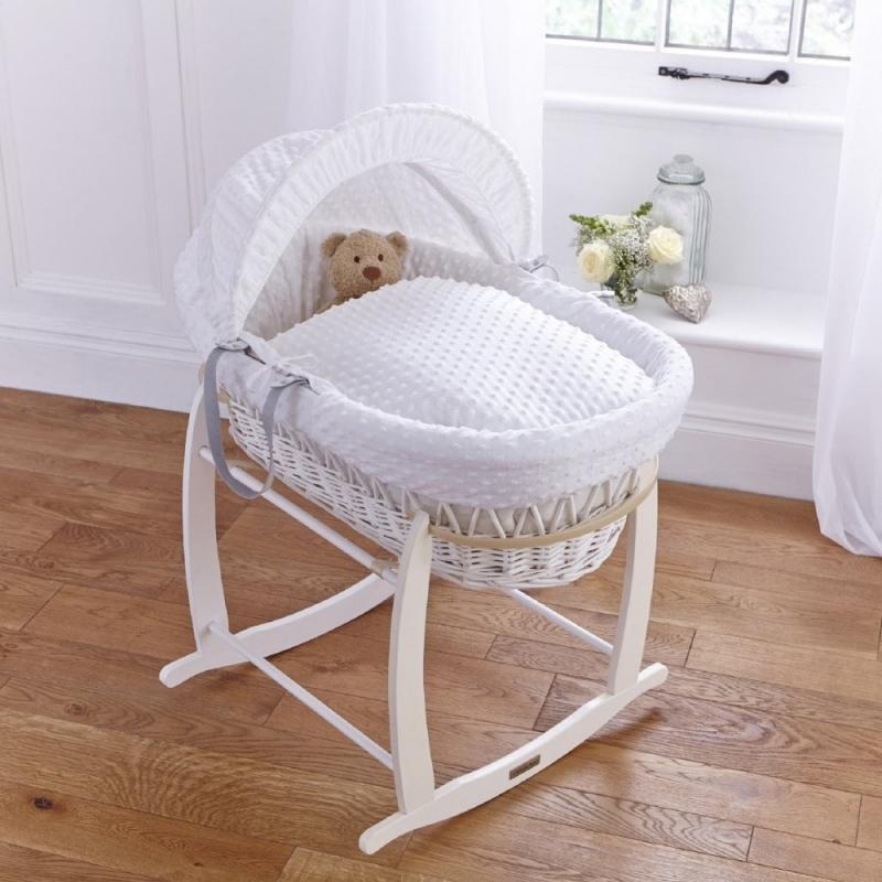 Clair De Lune Dimple White Wicker Moses Basket Colour-White