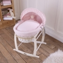 Clair De Lune Waffle White Wicker Moses Basket Colour-Pink