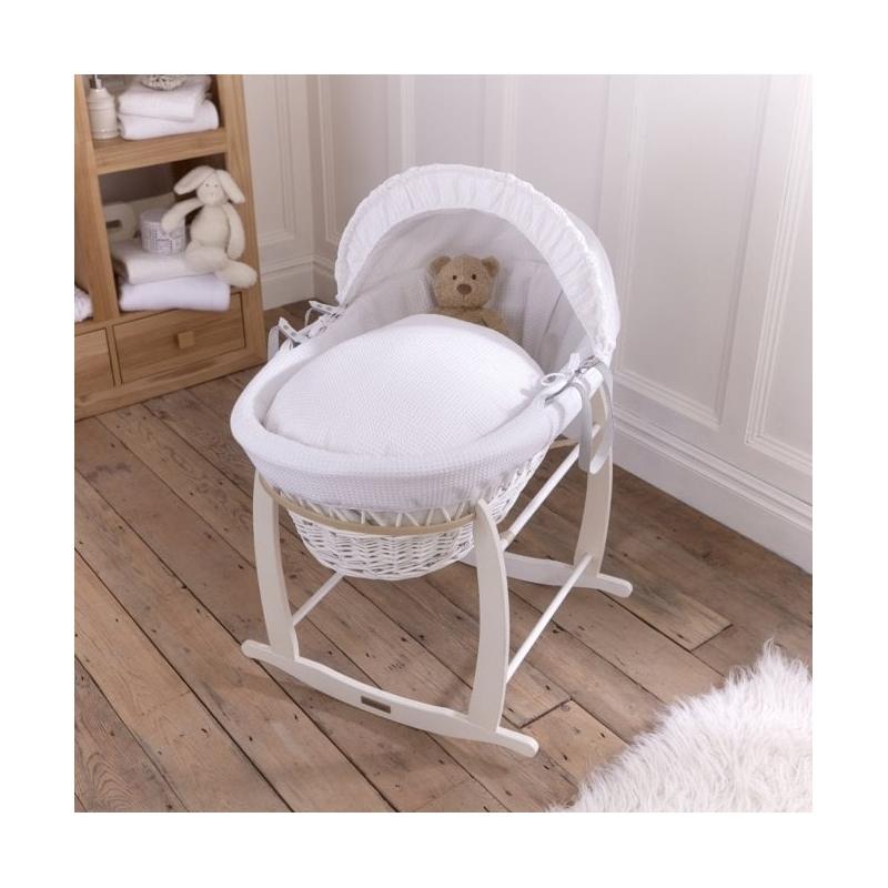 Clair De Lune Waffle White Wicker Moses Basket Colour-White