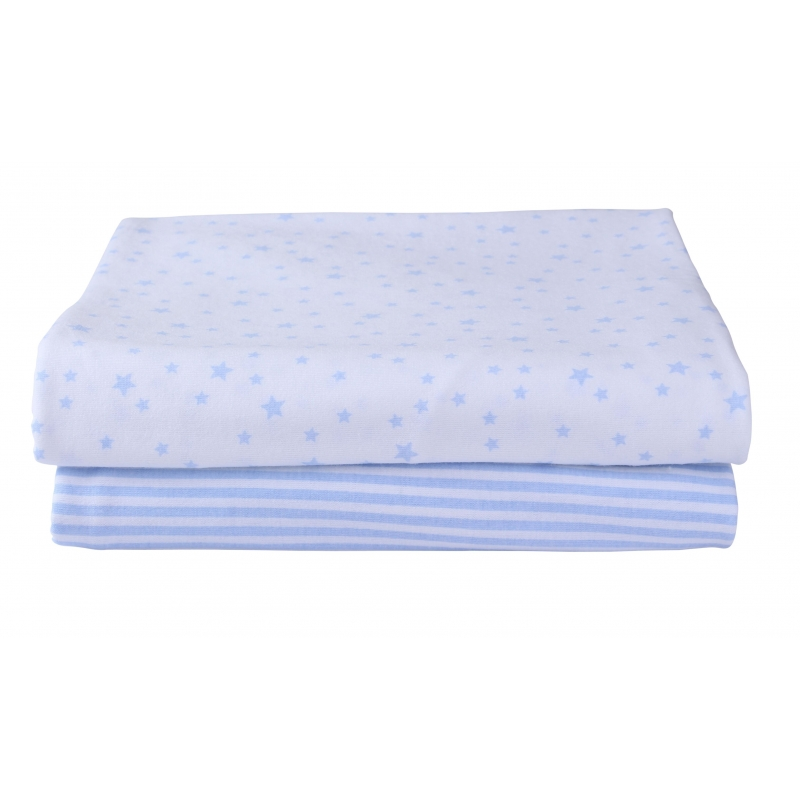 Clair De Lune 2 Pack Fitted Cot Bed Sheets-Blue