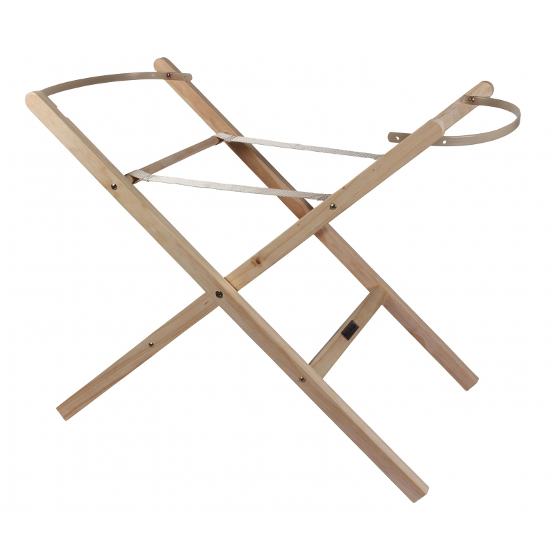 Clair De Lune Self Assembly Folding Moses Basket Stand-Natural