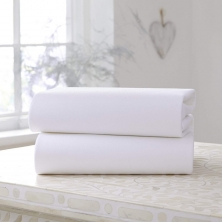 Clair De Lune 2 Pack Fitted Cotton Cot Bed Sheets-White