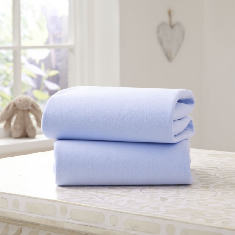 Clair De Lune 2 Pack Cotton Fitted Pram/Crib Sheets- Blue