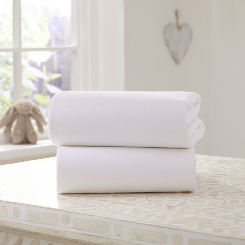 Clair De Lune 2 Pack Cotton Fitted Pram/Crib Sheets- White