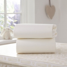 Clair De Lune 2 Pack Fitted Cotton Moses Basket Sheets-Cream
