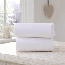 Clair De Lune 2 Pack Fitted Cotton Moses Basket Sheets-White