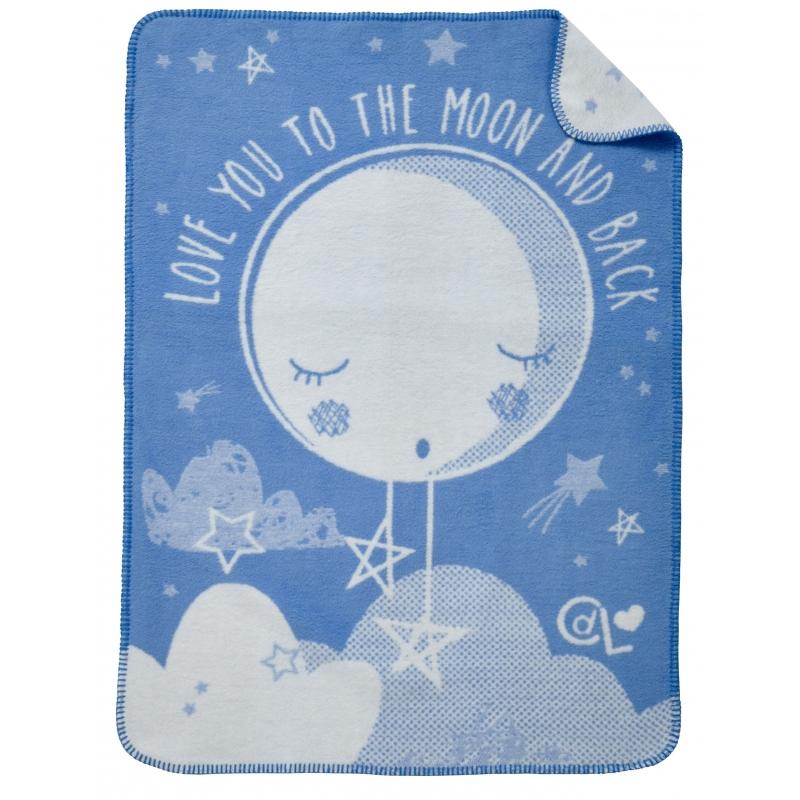 Clair De Lune Over The Moon Fleece Blanket-Blue