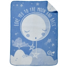 Clair De Lune Over The Moon Fleece Blanket-Blue
