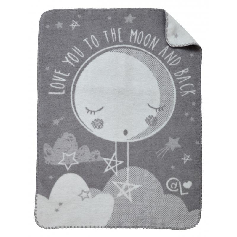 Clair De Lune Over The Moon Fleece Blanket-Grey