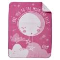 Clair De Lune Over The Moon Fleece Blanket-Pink