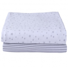 Clair De Lune 2 Pack Fitted Moses Sheets-Grey