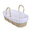 Clair De Lune Moses Basket Fleece Liner-White