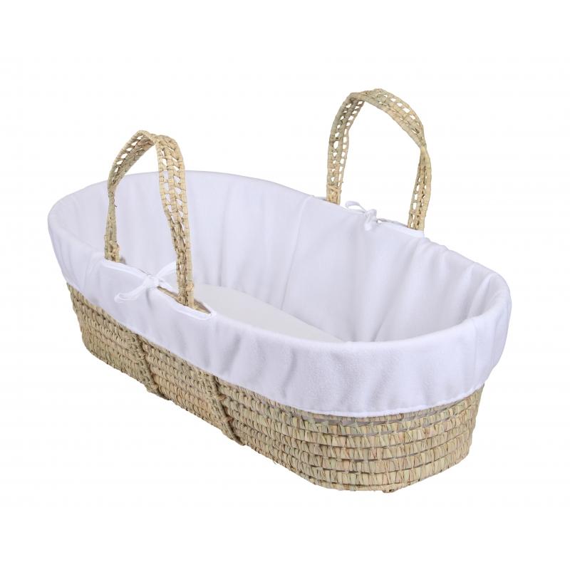 Clair De Lune Moses Basket Fleece Liner-White
