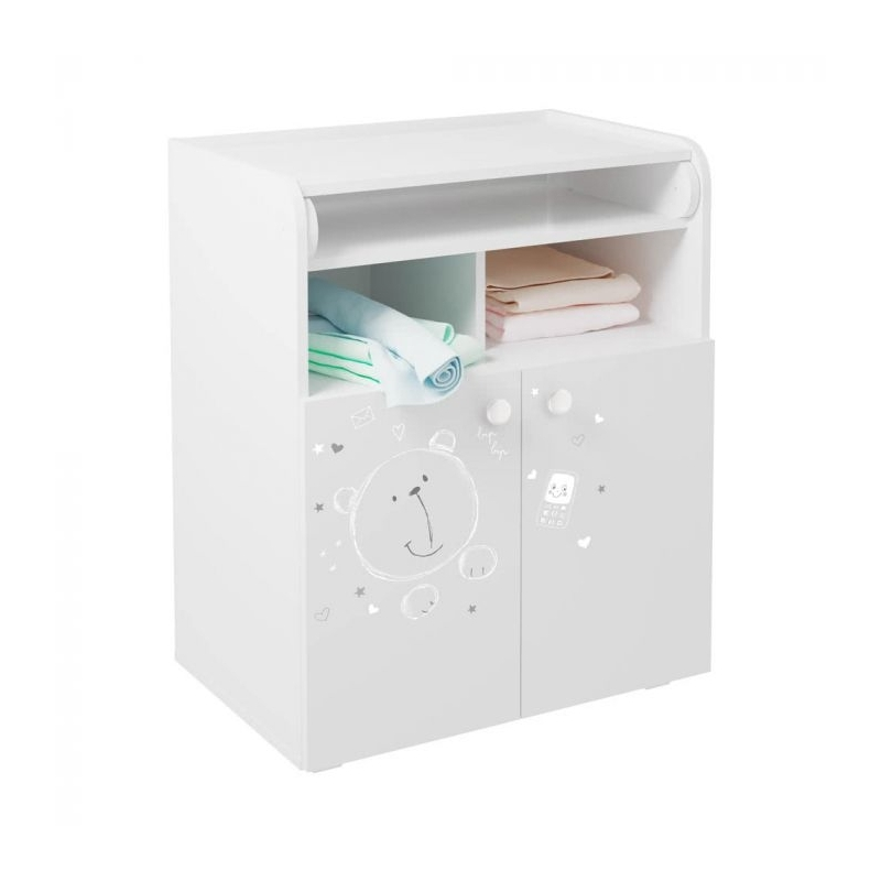 Kidsaw Kudl Kids Changing Board Cupboard with Storage- Teddy Print White