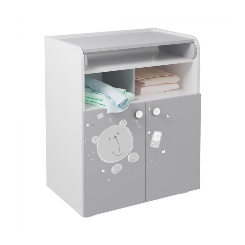 Kidsaw Kudl Kids Changing Board Cupboard with Storage- Teddy Print Grey