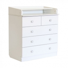 Kidsaw Kudl Kids 5 Drawer Changing Unit with Changing Board-White