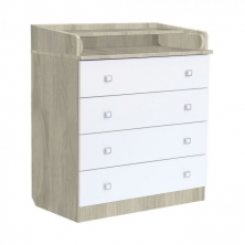 Kidsaw Kudl Kids 4 Drawer Changing Unit with Changing Board- Elm White