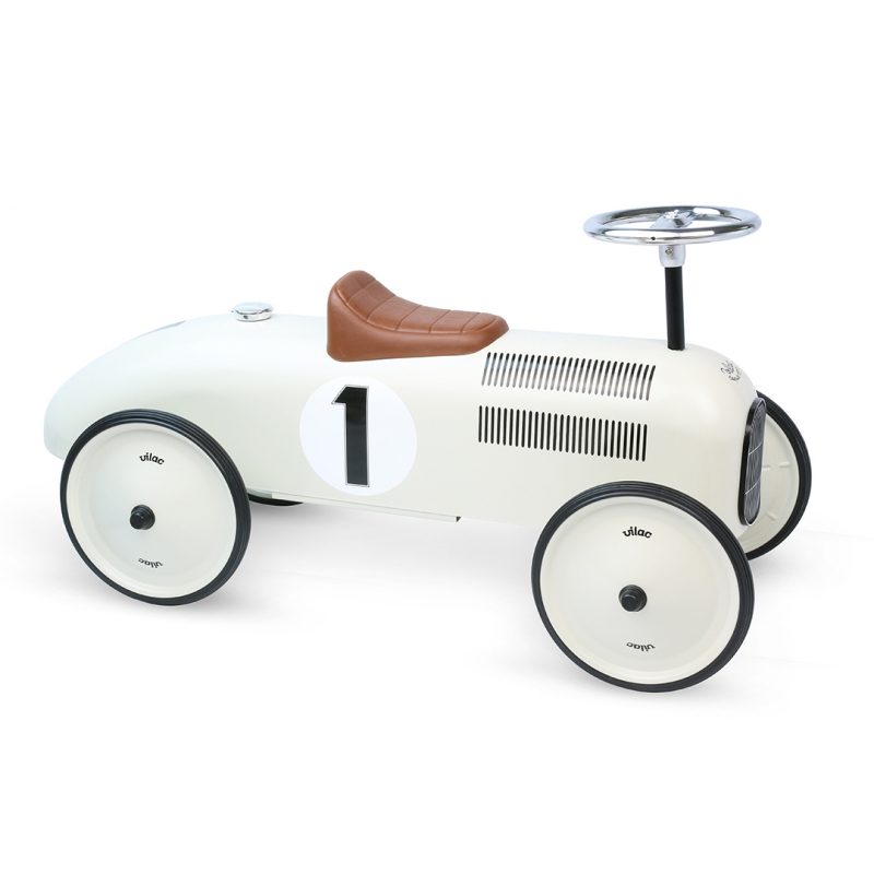 Vilac Classic Ride On Metal Car- Off White