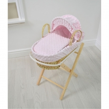 Kiddies Kingdom Dolls Moses Basket-Dimple Pink With Folding Stand!