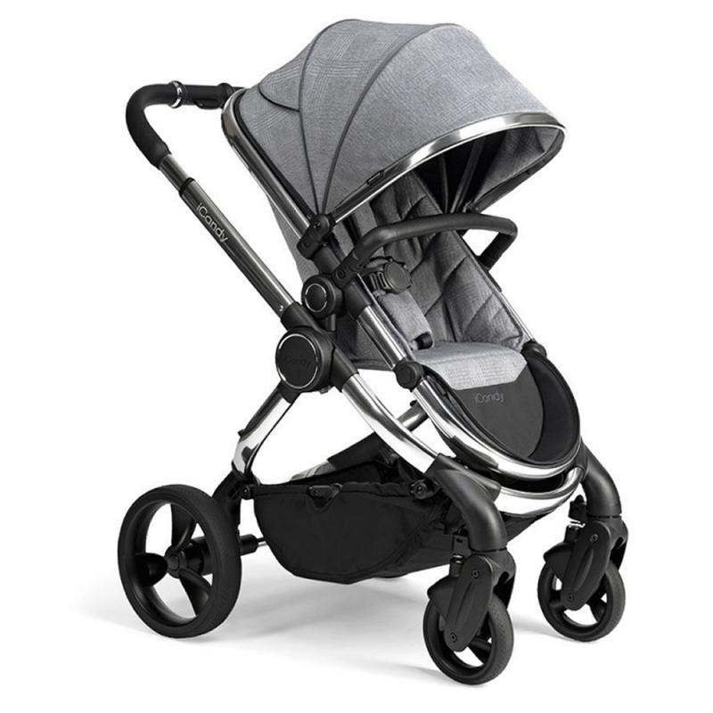 ICandy Peach Chrome Stroller-Light Grey Check