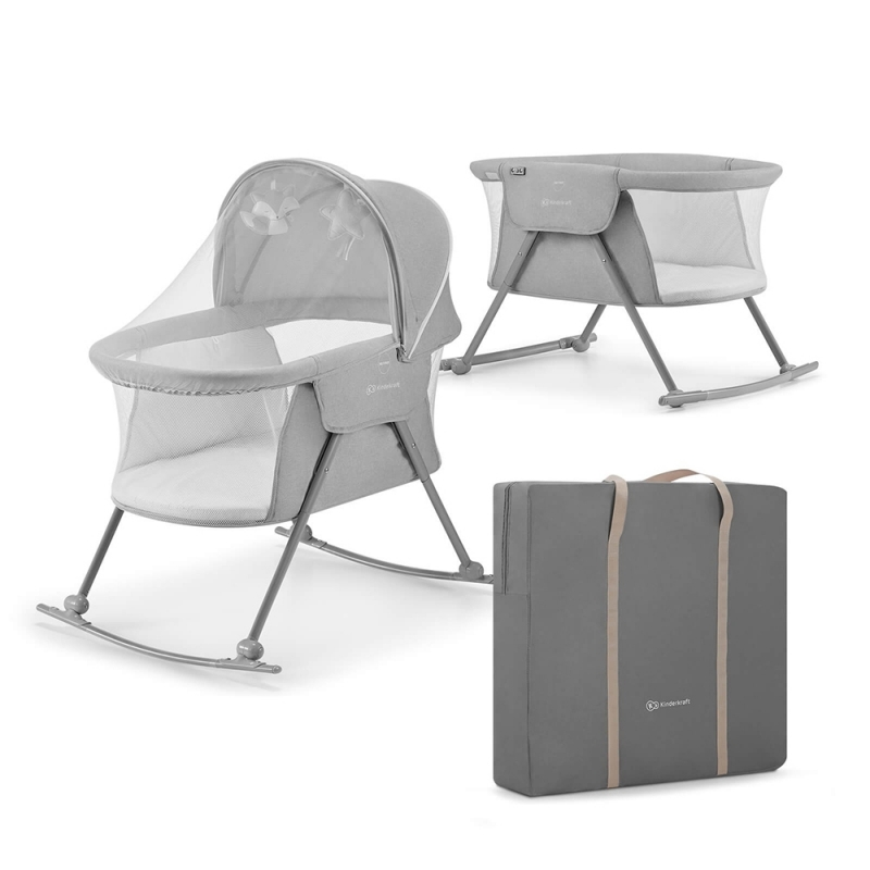 Kinderkraft Lovi Baby Cot-Grey