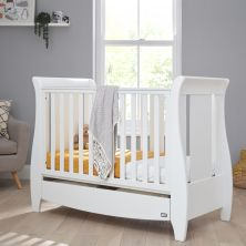 Tutti Bambini Katie Sleigh Mini Cot Bed With Under Bed Drawer-White
