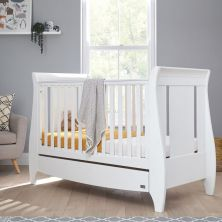 Tutti Bambini Lucas Sleigh Cot Bed Inc Under Bed Drawer-White