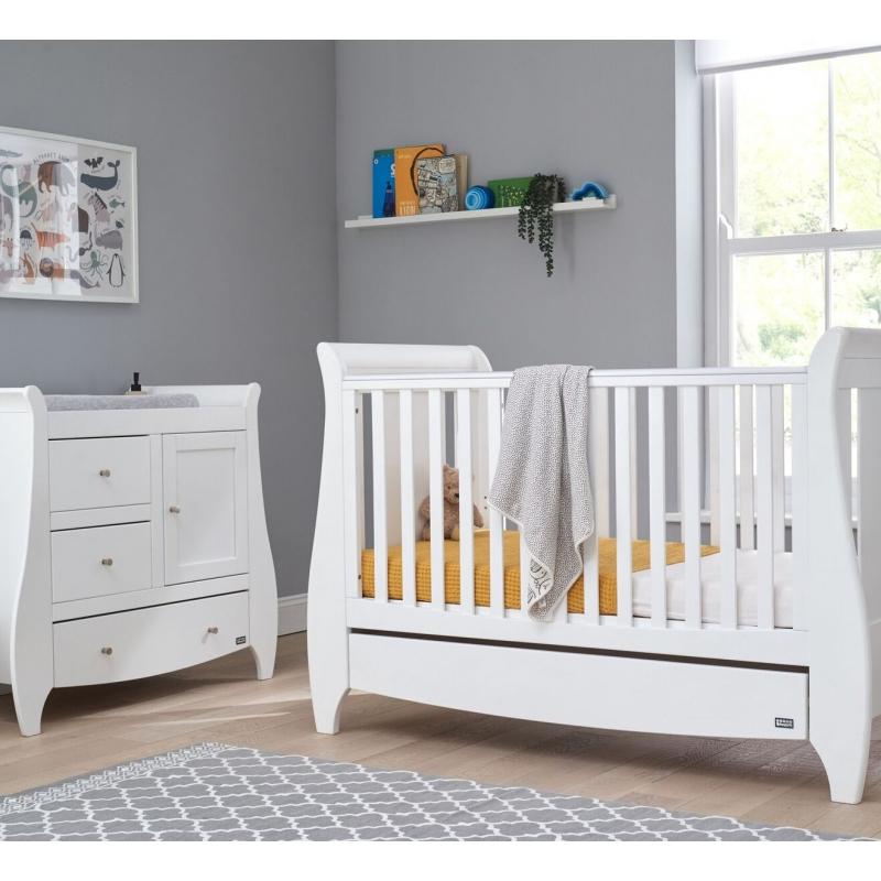 Tutti Bambini Lucas 2 Piece Sleigh Room Set-White