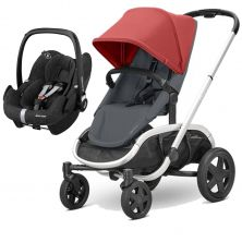 Quinny Hubb Silver Frame 2in1 Pebble Pro Travel System-Red/Graphite