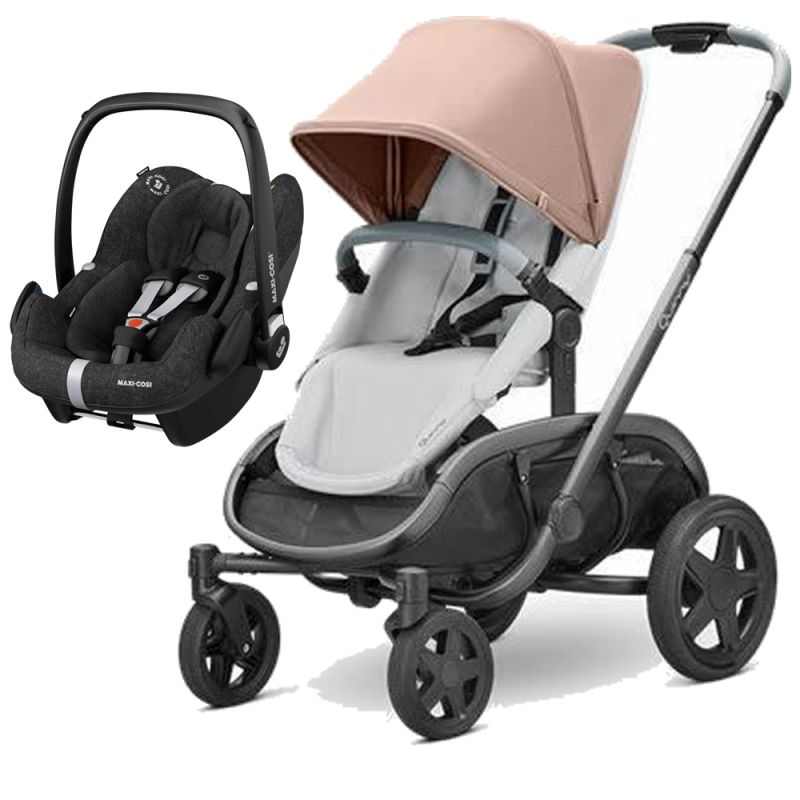 Quinny Hubb Graphite Frame 2in1 Pebble Pro Travel System-Cork/Grey