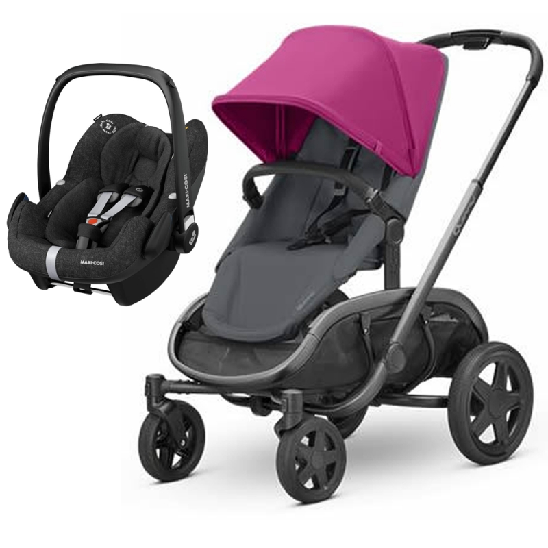 Quinny Hubb Graphite Frame XXL 2in1 Pebble Pro Travel System-Pink/Graphite