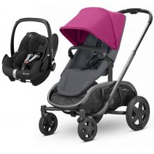 Quinny Hubb Graphite Frame 2in1 Pebble Pro Travel System-Pink/Graphite