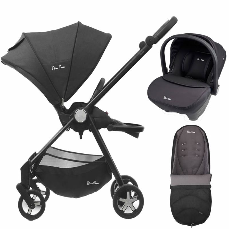 Silver Cross Spirit 2in1 Travel System & Matching Footmuff-Onyx (EXCLUSIVE)