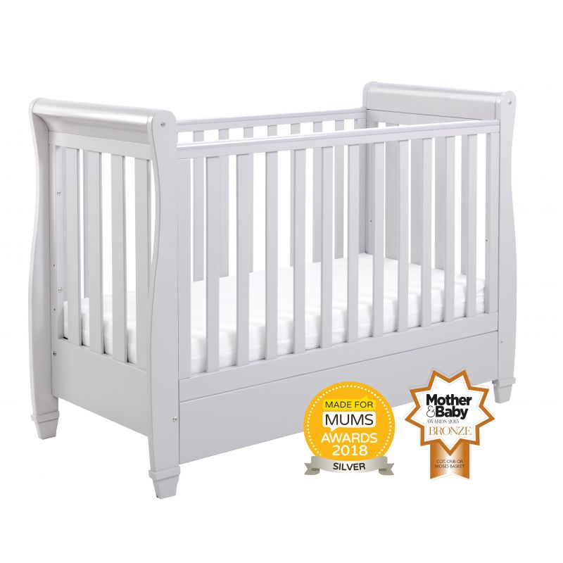 Babymore Eva Sleigh DROPSIDE Convertible Cot Bed-Grey