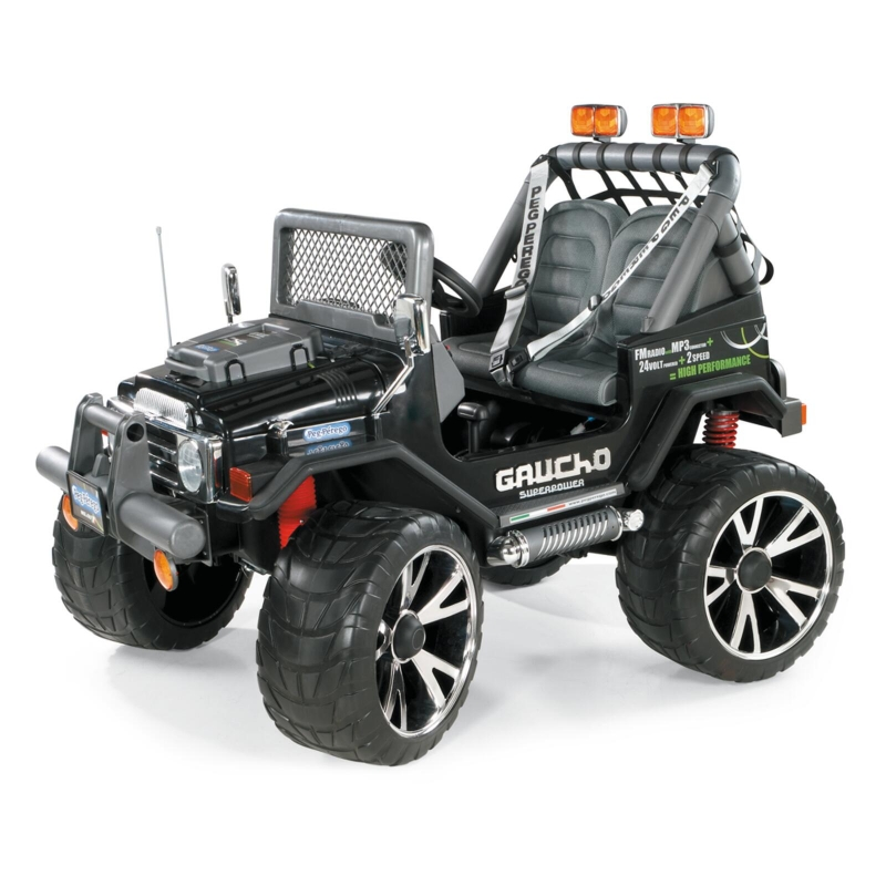 Peg Perego Gaucho Superpower Electric Ride On Jeep- Black