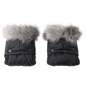 Clair De Lune Universal Pushchair/Pram Faux Fur Mittens-Grey