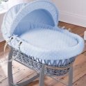 Clair De Lune Dimple Grey Wicker Moses Basket-Blue