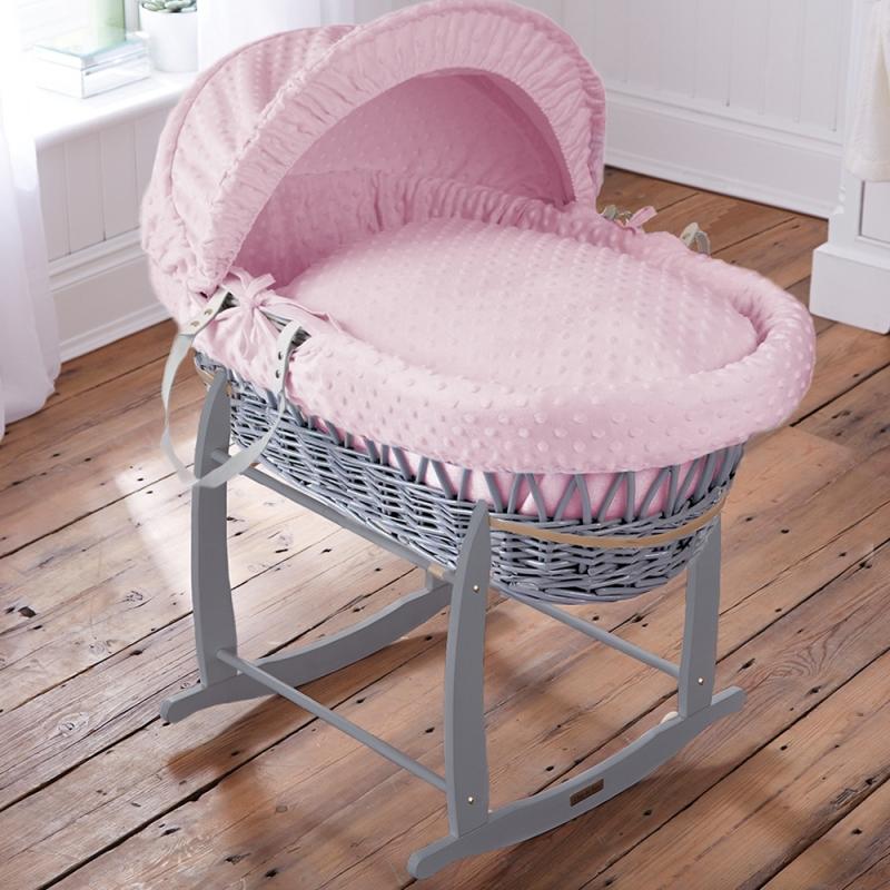 Clair De Lune Dimple Grey Wicker Moses Basket-Pink